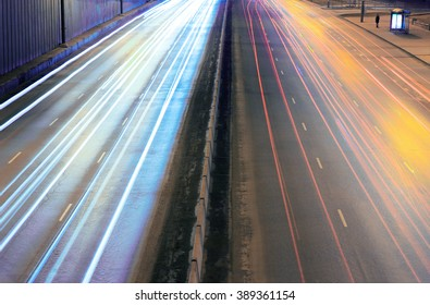 night city highway with moving cars
