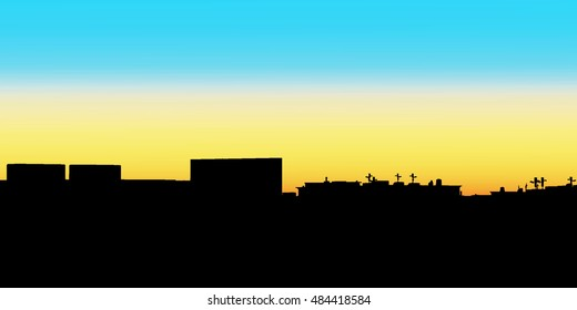 Night City. illustration of apartment blocks in a town at evening.