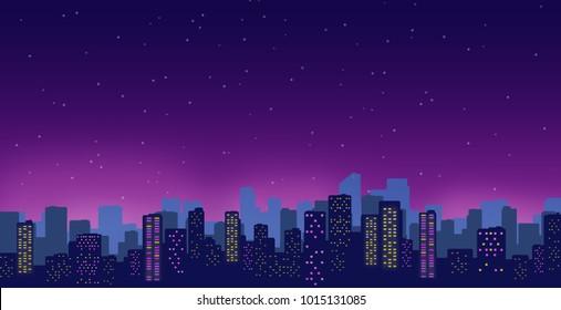 Night city illustration. Modern buildings over purple dark starred sky.
