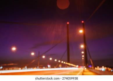 Night city landscape Dyusildorf. Media harbor. Germany.  Natural blurred background. Soft light effect.