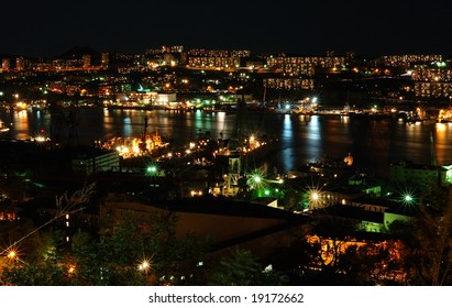 Night city landscape - view of Vladivostok lights.