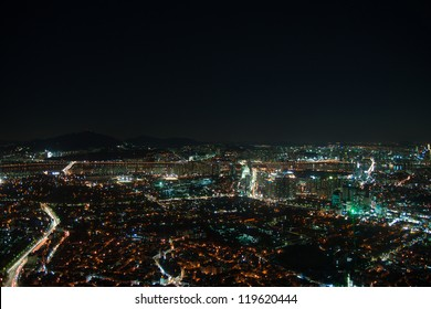 Night city life from Seoul. Suitable for a futuristic o night view for a modern city.