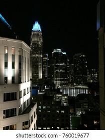 Night city lights of Charlotte, NC