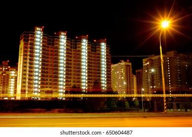 Night City Lights New Buildings Suburb Neighborhood of Moscow