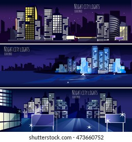 Night city lights nightscape 3 interactive horizontal banners set for  computer wallpaper or webpage abstract isolated  illustration