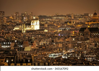 Night city lights in Paris
