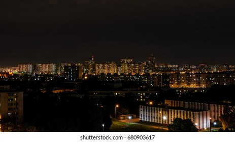 Night city lights, View of the night city