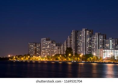 Night city near the river.