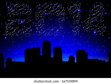 Night city on a background of the sky in 2014