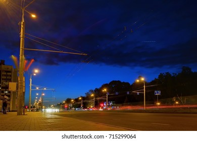 Night city on a long exposure with the tracks of cars
