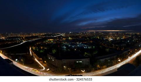 Night city panorama,Kiev,Ukraine, Kharcovskiy