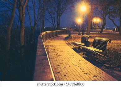 Night city park. Wooden benches, street lights and park alley