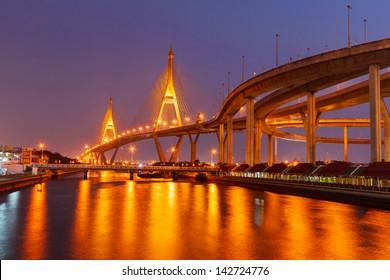 night city public bridge at  location of Bangkok and Chao Phraya River