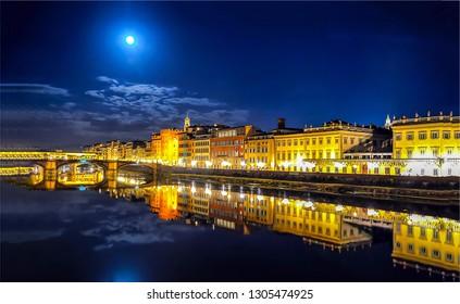 Night city river reflection landscape. City river reflection night lights. Night city lights river reflection. Night river city lights view