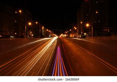 Night city road lights, cars, buildings, highway, traffic