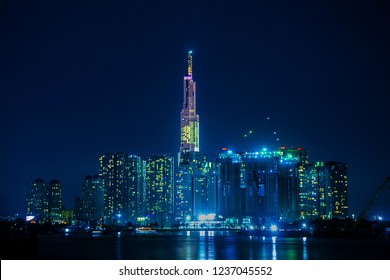 Night City scape in Ho Chi Minh city,Viet Nam,Landmark view