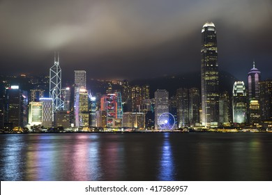 Night city scape on Hong Kong Harbour.