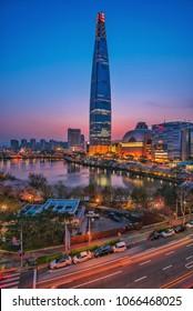 night city scape at seoul korea