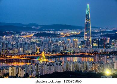 night city scape at seoul south korea