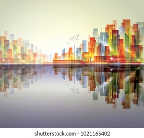 Night city skyline with neon glow and reflection in water