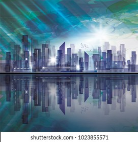 Night city skyline with reflection in water and cloudy sky