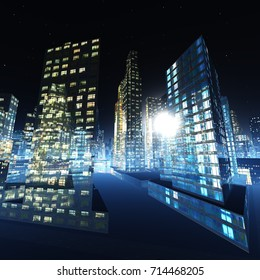 night city, skyscrapers at night, 3D rendering