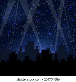 Night City. Starry Night Blue Sky. City Skyscrapers. Town Light Rays.