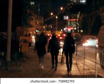 Night city street lights background