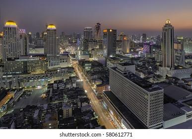 Night City tower Bangkok. skyline at night