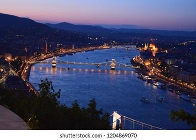 Night city view Budapest