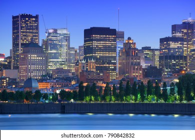 Night City View from Parc Jean Drapeau on Old Center and Vie Port of Montreal, Downtown, City on River, Montreal, Quebec, Canada
