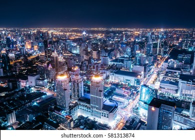 Night cityscape of Bangkok, Thailand, Asia