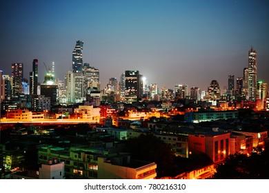 A night cityscape of Bangkok,Thailand in 7 Dec 2017