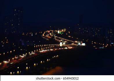 night cityscape blurred view