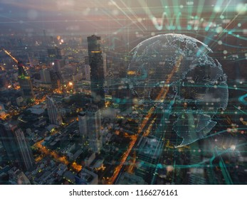 Night cityscape bouble exposure of Global  Futuristic computer digital Abstract ,cyber space technology background concept