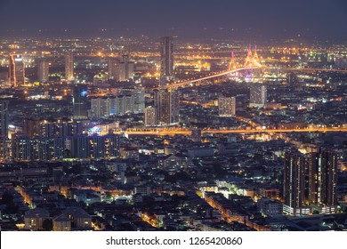 Night cityscape in center of Bangkok, Thailand