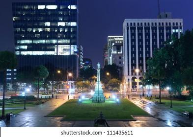 Night cityscape of downtown Columbia, South Carolina, USA.