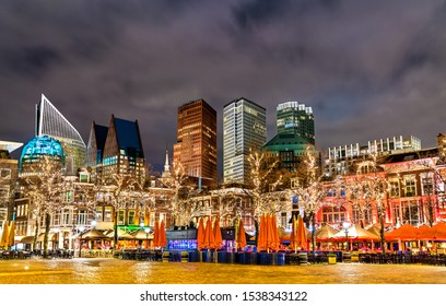 Night cityscape of the Hague from Het Plein Square. The Netherlands