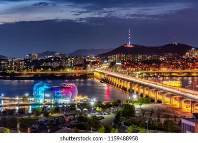 night cityscape at han river seoul korea