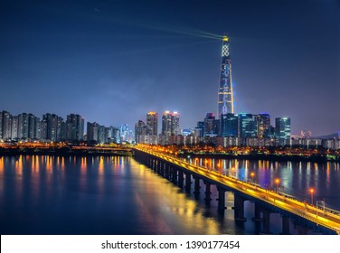 night cityscape at han river in seoul city south Korea