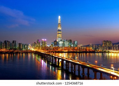 night cityscape at han riverside in seoul south Korea