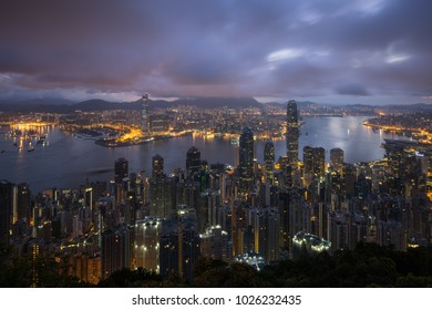 Night cityscape in Hongkong from top view