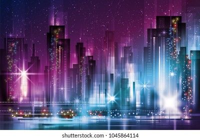 Night cityscape with illuminated buildings and road.  illustration with architecture, skyscrapers, megapolis, buildings, downtown.