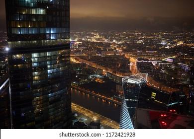 Night cityscape of illuminated Moscow megapolis.