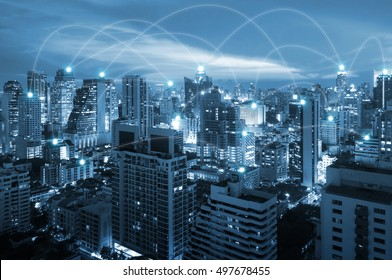 Night cityscape and internet network connection for communication , business and technology concept
