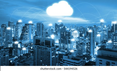 Night cityscape and internet network connection cloud technology for communication , business and technology concept