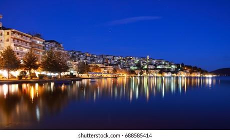 Night cityscape of Kastoria, Greece