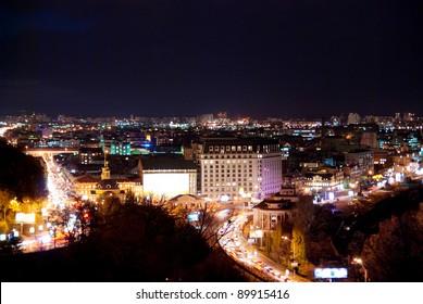 night cityscape of Kiev, Ukraine