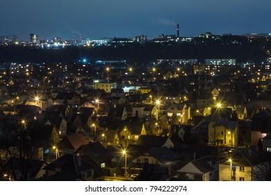 night cityscape, lights of the night city