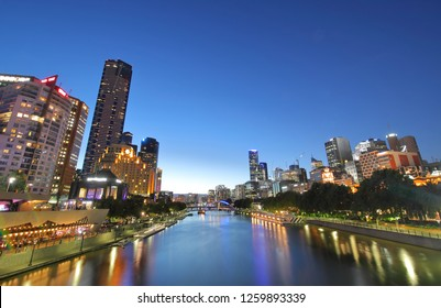 Night cityscape Melbourne Australia